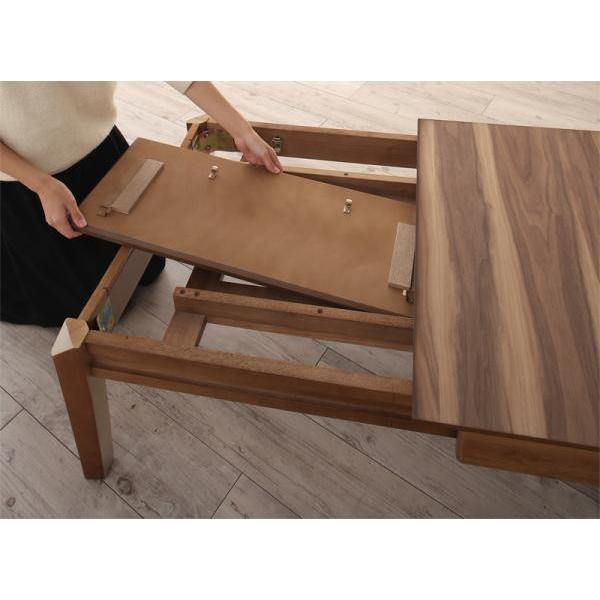 リビングテーブル 座卓 3段階伸長式 天然木 ウォールナット W120-180 alla-moda 02