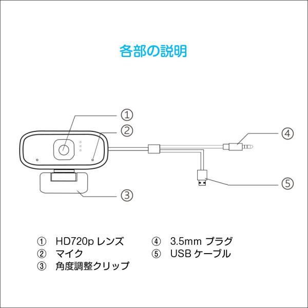 ウェブカメラ webカメラ 720P 30FPS ノイズ対策 在宅 配信 会議 授業 テレワーク miraicam720p MR-MRO-720P 得トク2WEEKS|allbuy|10