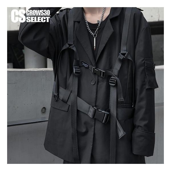 ミリタリージャケットメンズベストドローコードインポートユニセックス2019春夏 個性的V系ホストお兄系衣装
