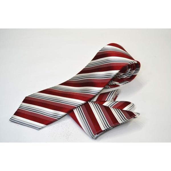 赤(レッド)地にグレーのグラデーションネクタイ&ポケットチーフセット(チーフ23cm) / CSN-SS11042|allety-y|02