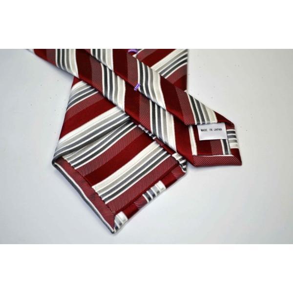 赤(レッド)地にグレーのグラデーションネクタイ&ポケットチーフセット(チーフ23cm) / CSN-SS11042|allety-y|03