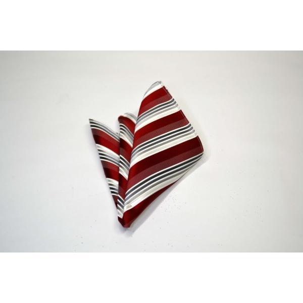 赤(レッド)地にグレーのグラデーションネクタイ&ポケットチーフセット(チーフ23cm) / CSN-SS11042|allety-y|04