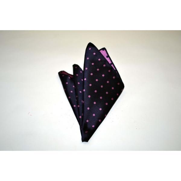 濃い紫地に濃いピンクのドット(水玉)柄ポケットチーフ(チーフ30cm) / PCN-MZ003 allety-y