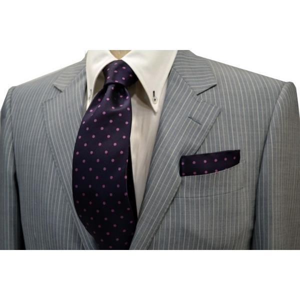 濃い紫地に濃いピンクのドット(水玉)柄ポケットチーフ(チーフ30cm) / PCN-MZ003 allety-y 02