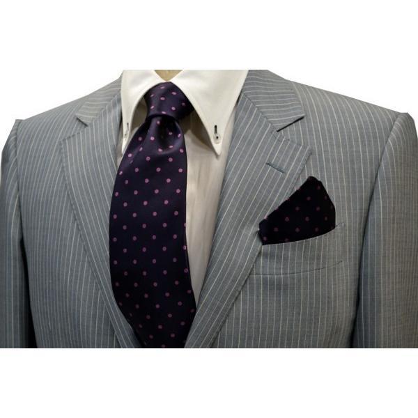 濃い紫地に濃いピンクのドット(水玉)柄ポケットチーフ(チーフ30cm) / PCN-MZ003 allety-y 03