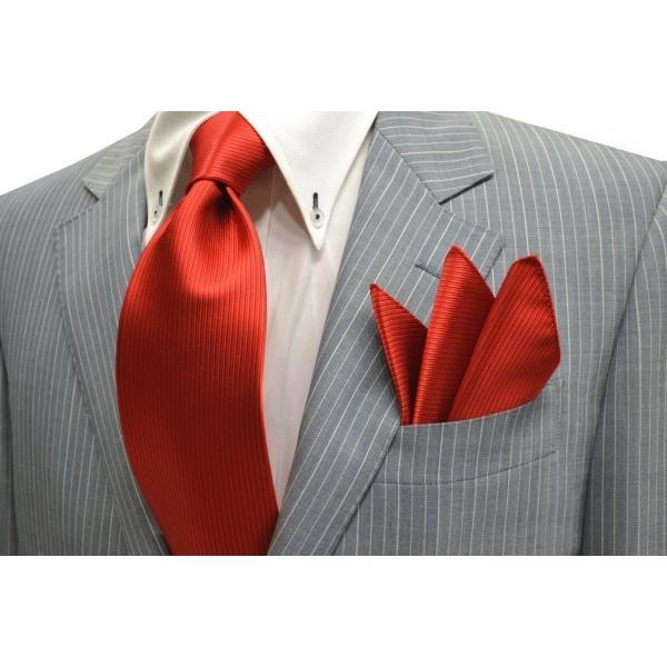 無地(縦ライン)/レッド(赤)少しオレンジかかったソリッド(無地)ネクタイ・チーフセット(チーフ30cm) / CS-SO018|allety-y|05