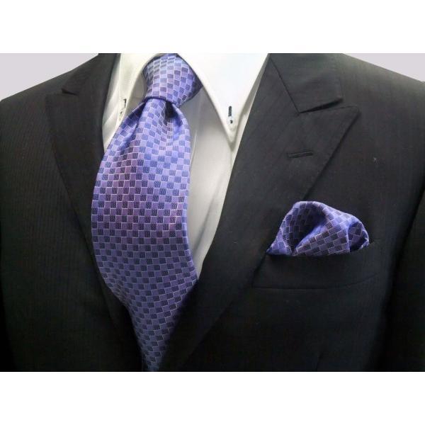 ブルー(青紫)市松模様ネクタイ&ポケットチーフセット(チーフ30cm) / CS-IT025 allety-y
