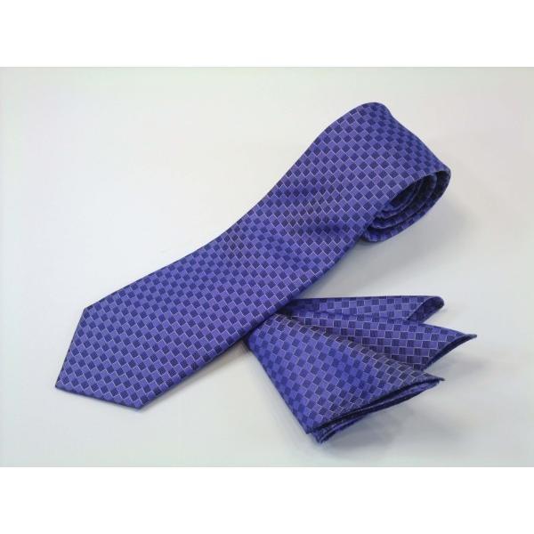ブルー(青紫)市松模様ネクタイ&ポケットチーフセット(チーフ30cm) / CS-IT025 allety-y 02