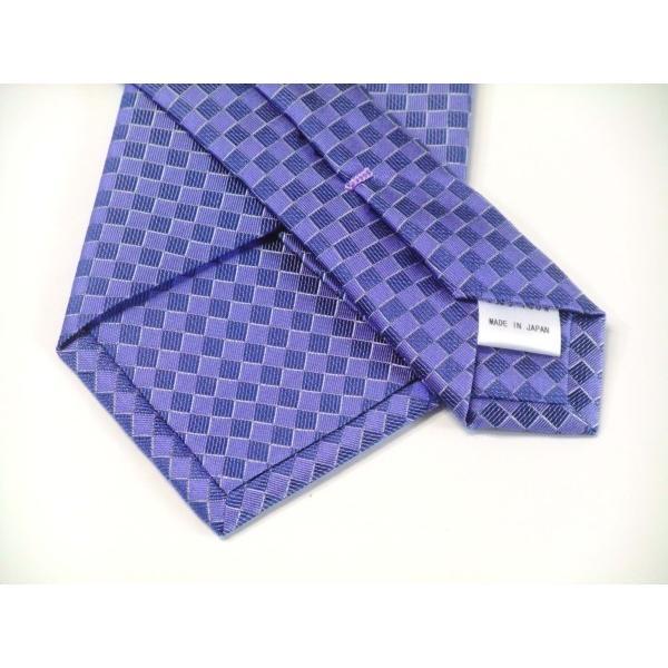 ブルー(青紫)市松模様ネクタイ&ポケットチーフセット(チーフ30cm) / CS-IT025 allety-y 03