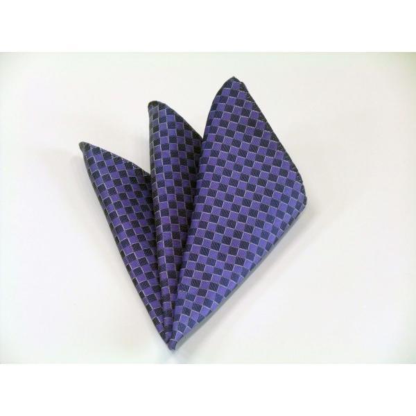 ブルー(青紫)市松模様ネクタイ&ポケットチーフセット(チーフ30cm) / CS-IT025 allety-y 04
