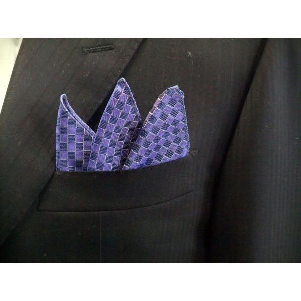ブルー(青紫)市松模様ネクタイ&ポケットチーフセット(チーフ30cm) / CS-IT025 allety-y 05