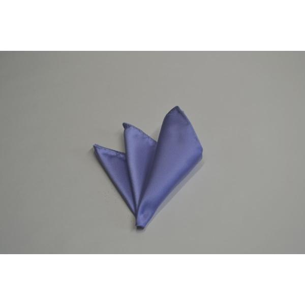 無地(シルクサテン)/濃い水色(ラベンダーかかった)のポケットチーフ(チーフ23cm) / PC-AP011|allety-y