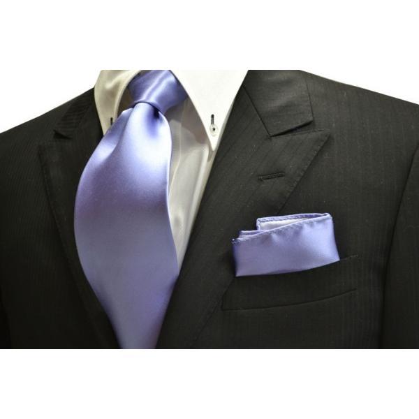 無地(シルクサテン)/濃い水色(ラベンダーかかった)のポケットチーフ(チーフ23cm) / PC-AP011|allety-y|02
