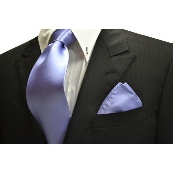 無地(シルクサテン)/濃い水色(ラベンダーかかった)のポケットチーフ(チーフ23cm) / PC-AP011|allety-y|03