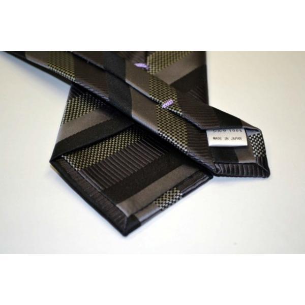 グレー、ブラックのストライプネクタイ / STN-19W021|allety-y|03