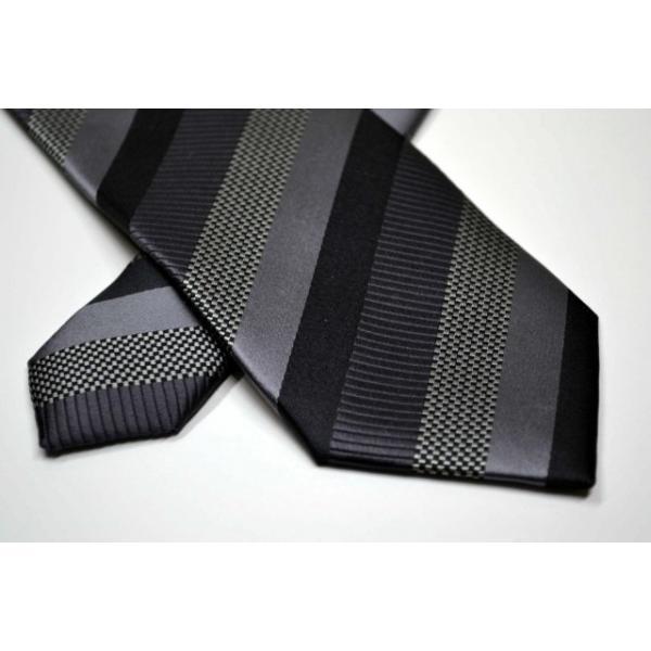 グレー、ブラックのストライプネクタイ / STN-19W021|allety-y|04