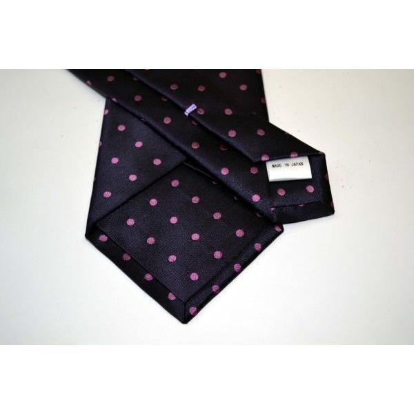 濃い紫地に濃いピンクのドット5mm(水玉)柄ネクタイ&チーフセット(チーフ23cm) / CSN-MZ003|allety|03