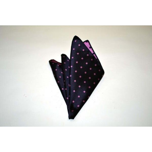 濃い紫地に濃いピンクのドット5mm(水玉)柄ネクタイ&チーフセット(チーフ23cm) / CSN-MZ003|allety|04