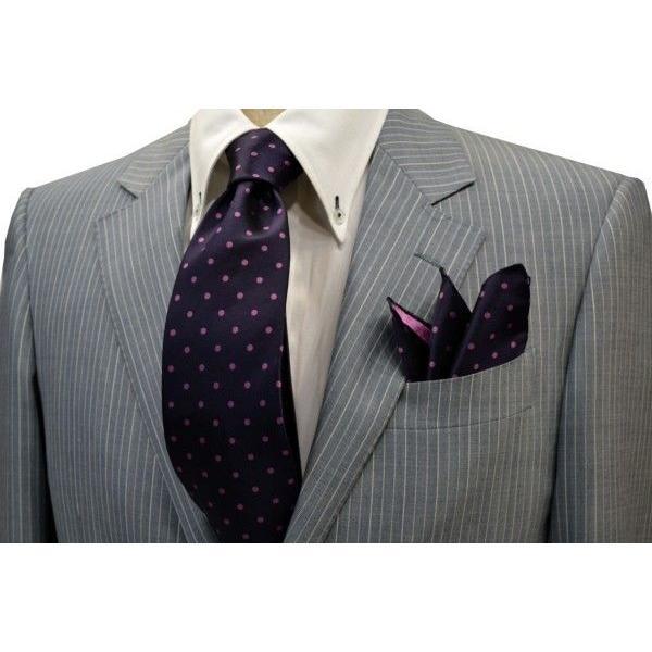 濃い紫地に濃いピンクのドット5mm(水玉)柄ネクタイ&チーフセット(チーフ23cm) / CSN-MZ003|allety|05