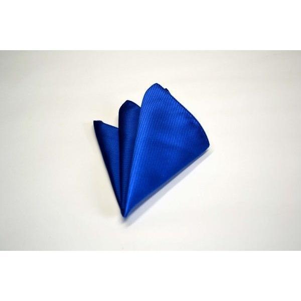 無地(縦ライン)/ブルー(青)のソリッド(無地)ネクタイ&チーフセット(チーフ23cm) / CS-SO010|allety|04