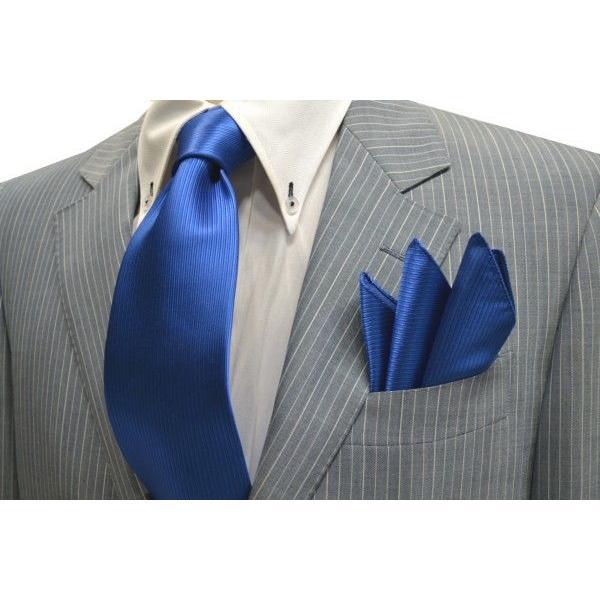 無地(縦ライン)/ブルー(青)のソリッド(無地)ネクタイ&チーフセット(チーフ23cm) / CS-SO010|allety|05