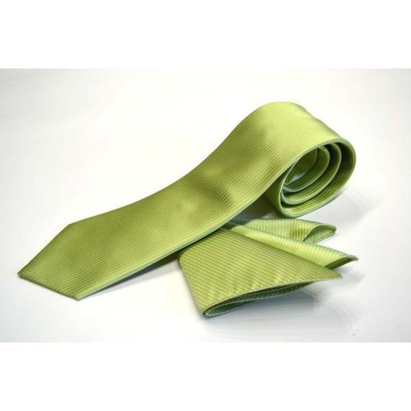 無地(縦ライン)/アップルグリーン(薄い黄緑)のソリッド・ネクタイ&チーフセット(チーフ30cm) / CS-SO013|allety|02