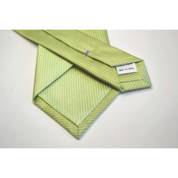 無地(縦ライン)/アップルグリーン(薄い黄緑)のソリッド・ネクタイ&チーフセット(チーフ30cm) / CS-SO013|allety|03