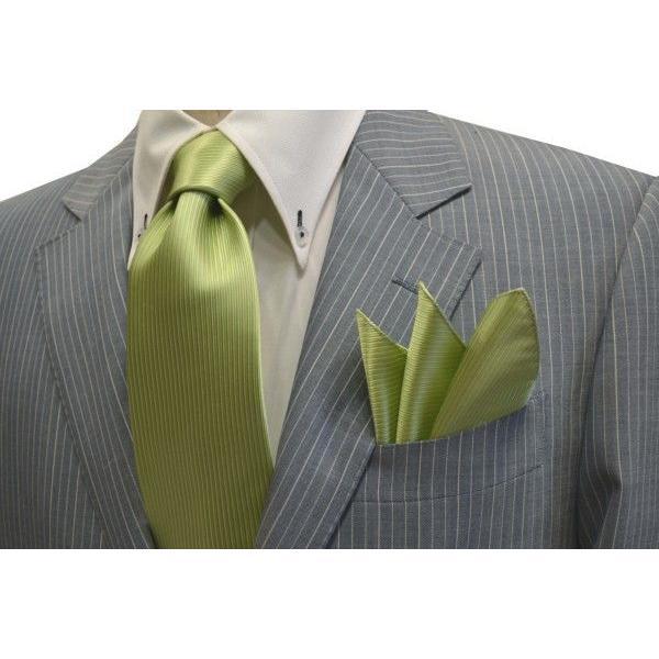 無地(縦ライン)/アップルグリーン(薄い黄緑)のソリッド・ネクタイ&チーフセット(チーフ30cm) / CS-SO013|allety|05