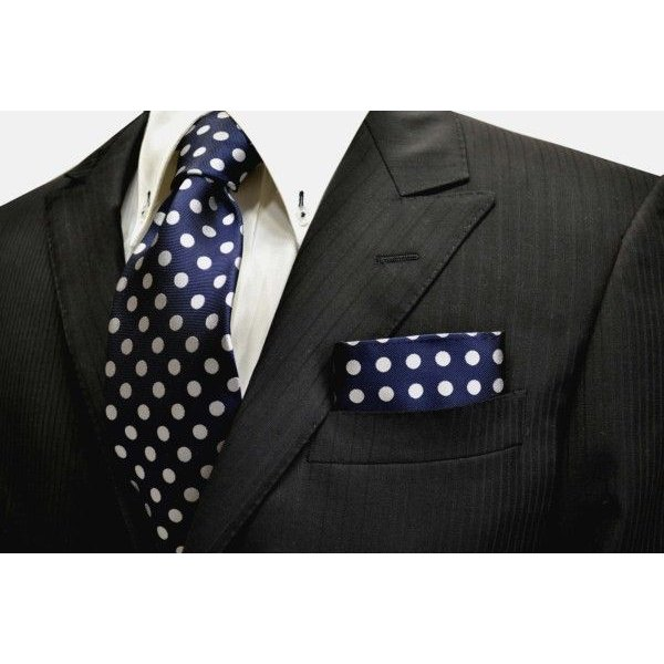 ネイビー(紺)地に白(少しシルバーぽい)のドット柄ポケットチーフ(チーフ30cm) / PCN-MZ010|allety|02