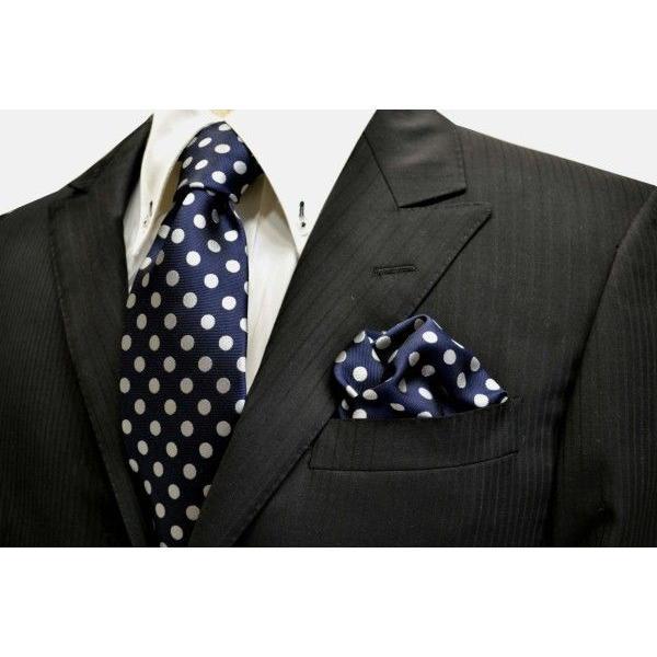 ネイビー(紺)地に白(少しシルバーぽい)のドット8mm柄ネクタイ&ポケットチーフセット(チーフ30cm) / CSN-MZ010 allety