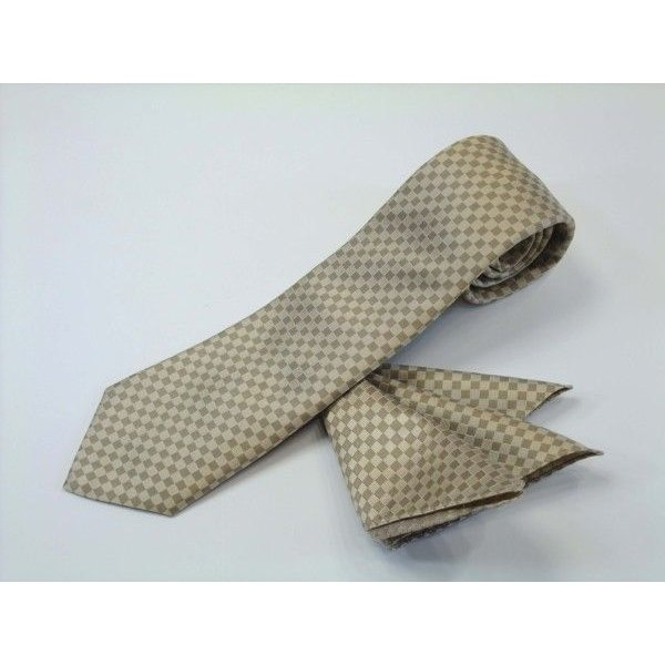ゴールド×ベージュの市松模様ネクタイ&ポケットチーフセット(チーフ30cm) / CS-IT023|allety|02