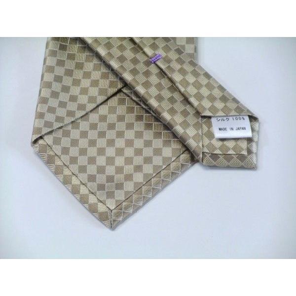 ゴールド×ベージュの市松模様ネクタイ&ポケットチーフセット(チーフ30cm) / CS-IT023|allety|03