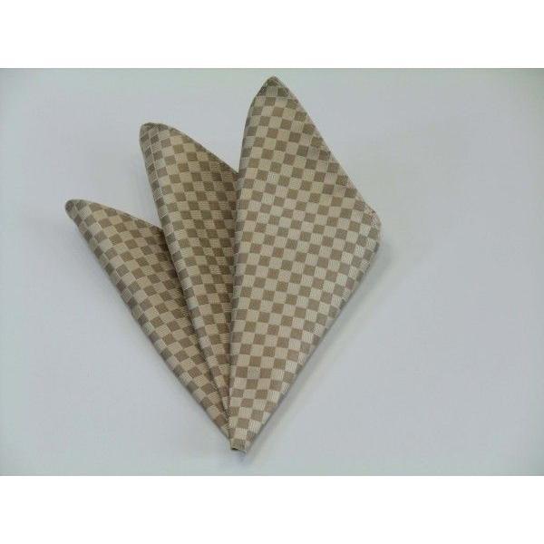 ゴールド×ベージュの市松模様ネクタイ&ポケットチーフセット(チーフ30cm) / CS-IT023|allety|04