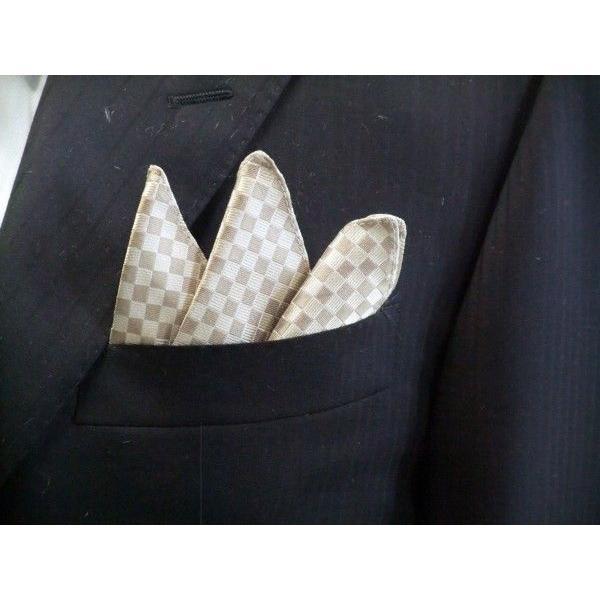 ゴールド×ベージュの市松模様ネクタイ&ポケットチーフセット(チーフ30cm) / CS-IT023|allety|05