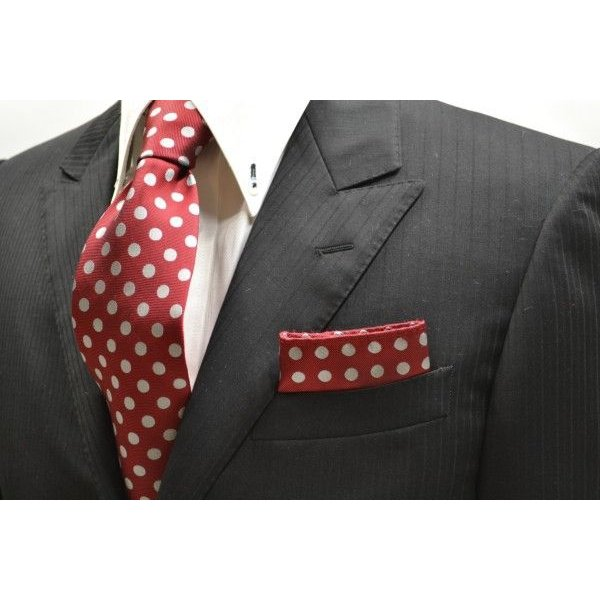 濃いレッド(赤)に生成りのドット柄ポケットチーフ(チーフ23cm) / PCN-MZ011|allety|02