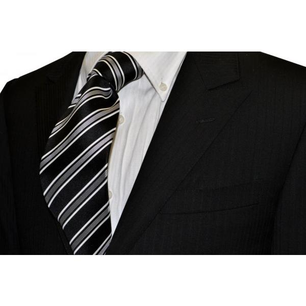 ブラック地にホワイトのストライプネクタイ・モーニング用 / 結婚式・披露宴・フォーマル・礼装/STN-S16032 allety