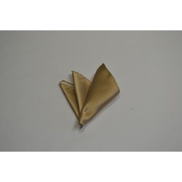 無地(シルクサテン)/シャンパーンゴールドのポケットチーフ(チーフ23cm) / 結婚式・披露宴・フォーマル・礼装/PC-AP004 allety