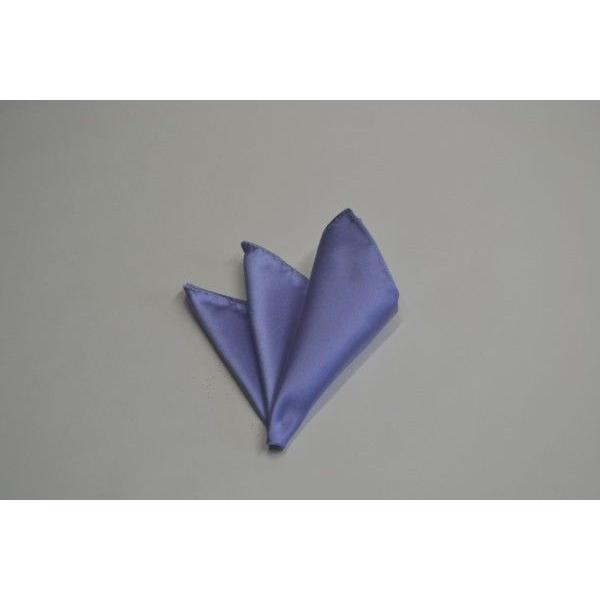 無地(シルクサテン)/濃い水色(ラベンダーかかった)のポケットチーフ(チーフ23cm) / PC-AP011|allety