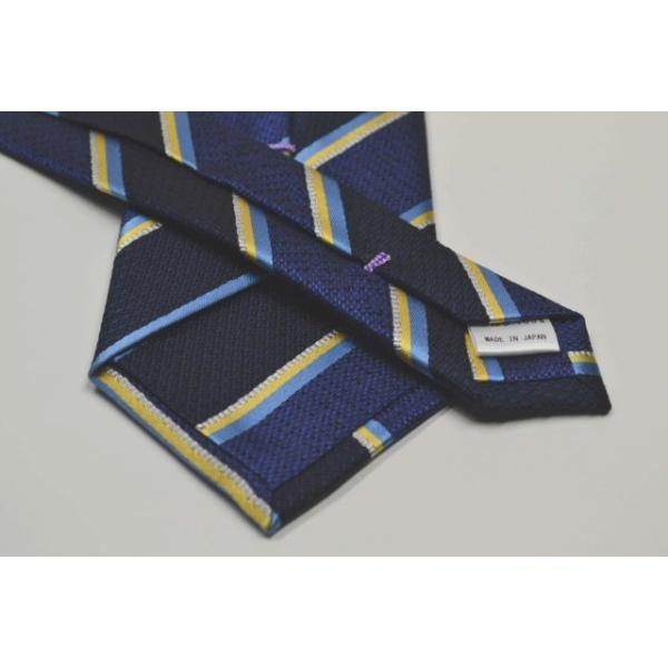 紺地に水色、イエロー、グレーのストライプネクタイ / STN-19W010|allety|03