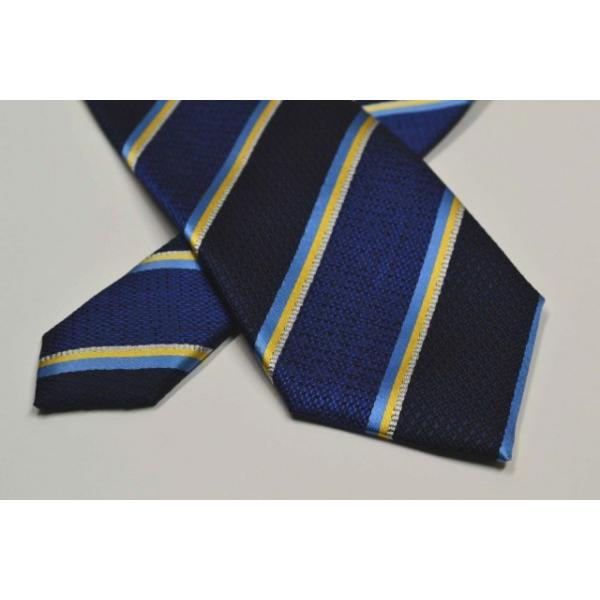 紺地に水色、イエロー、グレーのストライプネクタイ / STN-19W010|allety|04