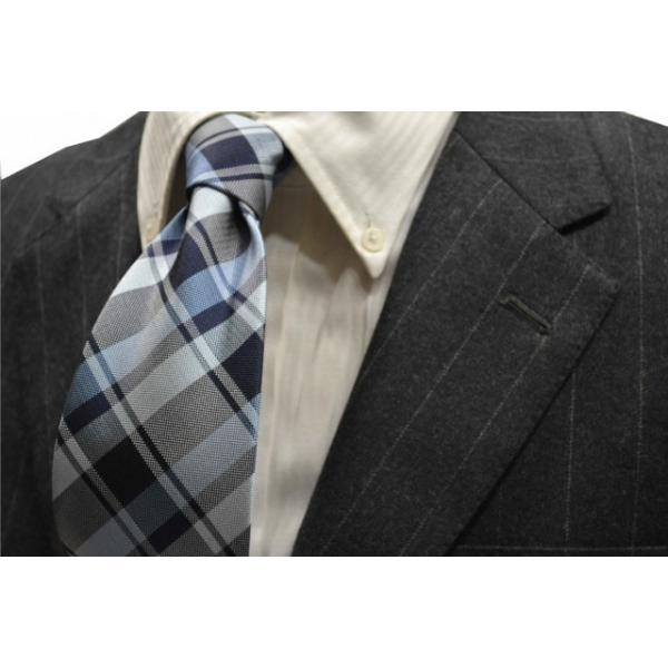 紺、ブルーのヤスラ織りストライプネクタイ / STN-19S007|allety