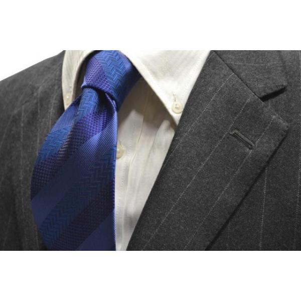 紺(ネイビー)、ブルーの黒だて【段落ち無地】ストライプネクタイ / STN-19S010|allety