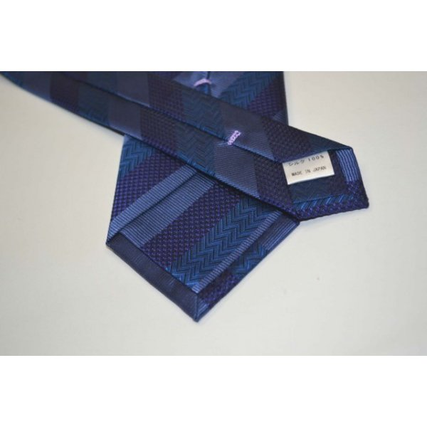 紺(ネイビー)、ブルーの黒だて【段落ち無地】ストライプネクタイ / STN-19S010|allety|03