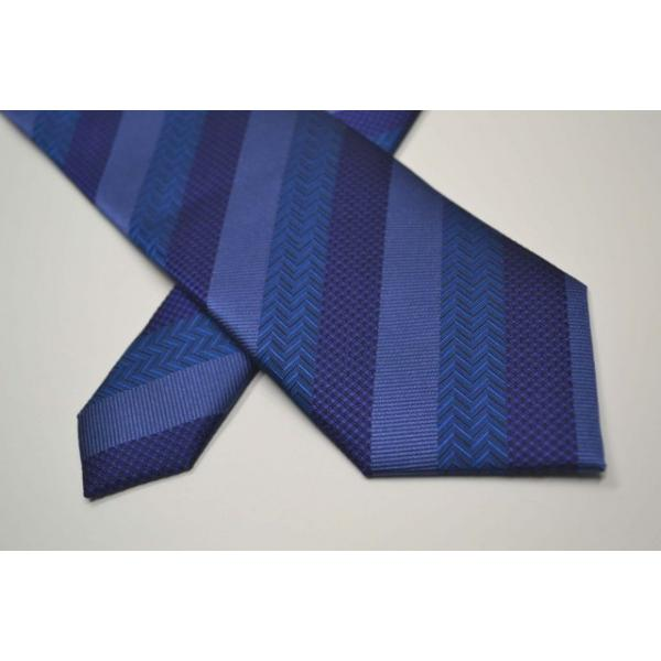 紺(ネイビー)、ブルーの黒だて【段落ち無地】ストライプネクタイ / STN-19S010|allety|04