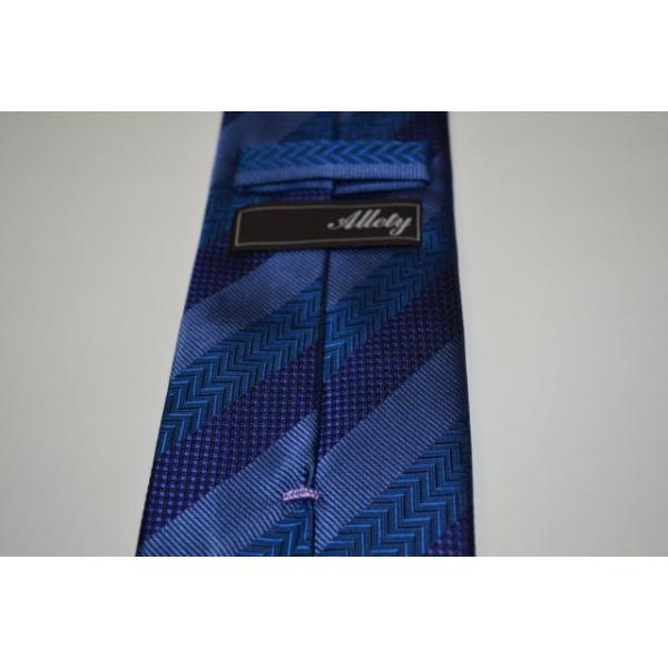 紺(ネイビー)、ブルーの黒だて【段落ち無地】ストライプネクタイ / STN-19S010|allety|05