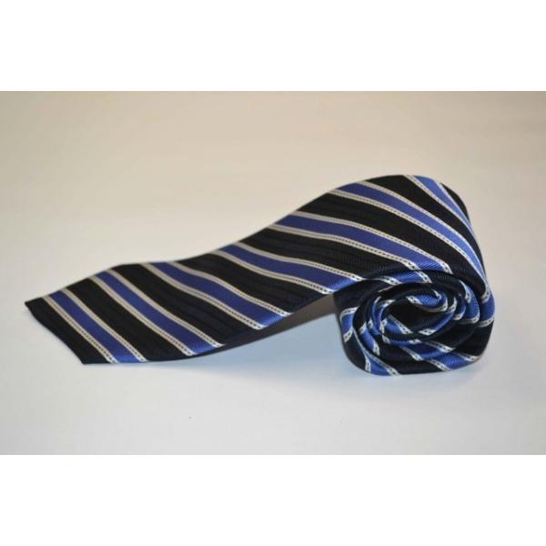紺(ネイビー)地に、ブルー、ホワイトのストライプネクタイ  / STN-19S020|allety|02