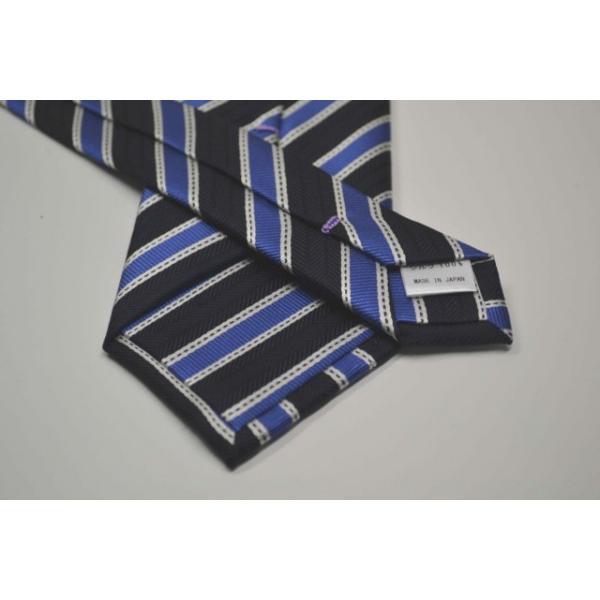 紺(ネイビー)地に、ブルー、ホワイトのストライプネクタイ  / STN-19S020|allety|03