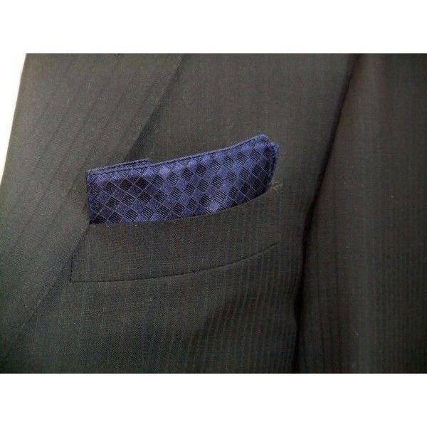 紺色(ネイビー)の市松模様ポケットチーフ(チーフ30cm) / PC-IT006|allety|02