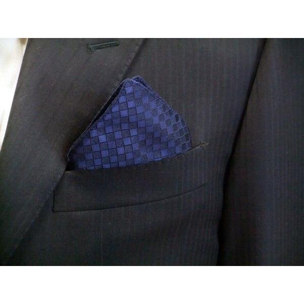 紺色(ネイビー)の市松模様ポケットチーフ(チーフ30cm) / PC-IT006|allety|03