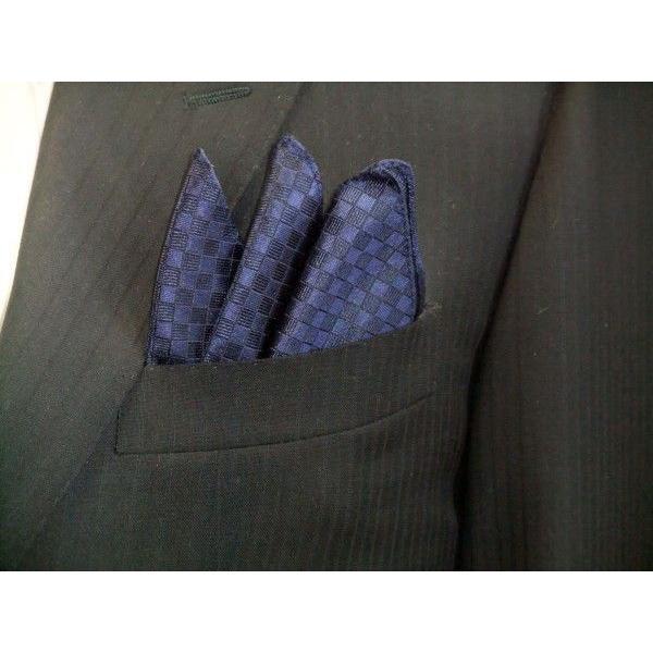 紺色(ネイビー)の市松模様ポケットチーフ(チーフ30cm) / PC-IT006|allety|04